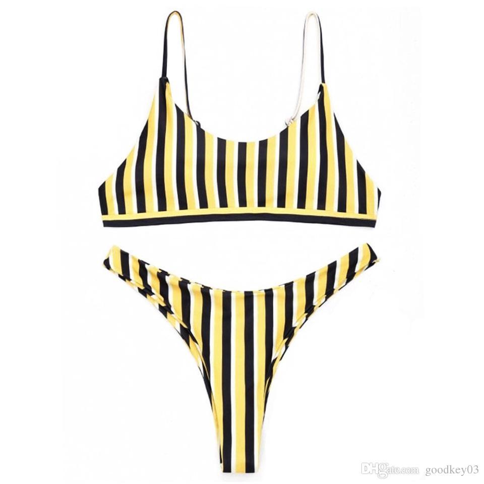 الأصفر مخطط مثير بيكيني النساء المايوه البرازيلي بيكيني مجموعة ثونغ ملابس السباحة المايوه ملابس السباحة مع مبطن