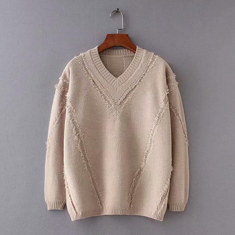 2018 осень новый V-воротник прямая трубка бахромой темперамент женщин пуловер чистый цвет женщин свитер