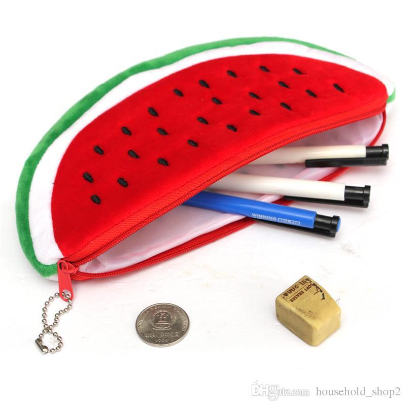 2018 봉제 수박 연필 케이스 여성 화장품 지갑 지갑 홀더 파우치 실용 학교 학생 사무실 연필 가방