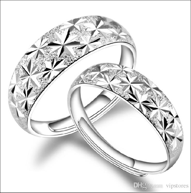 Couple rings silver for lovers sterling silver S990 couple rings adjustable couple wedding Finger Rings jewelry For Women Men
