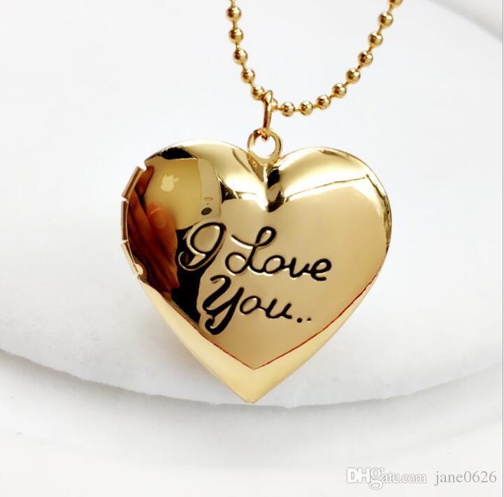 Haute Qualité Valentine Amant Cadeau Mot Je t'aime Dessins Cadres Photo Peut Ouvrir Médaillon Pendentif Charme Colliers Coeur Pendentifs