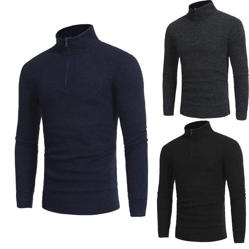 Nouveau hiver col roulé chandails chauds hommes manches longues muscle zipper mode casual tricoté pull plus la taille m-2xl