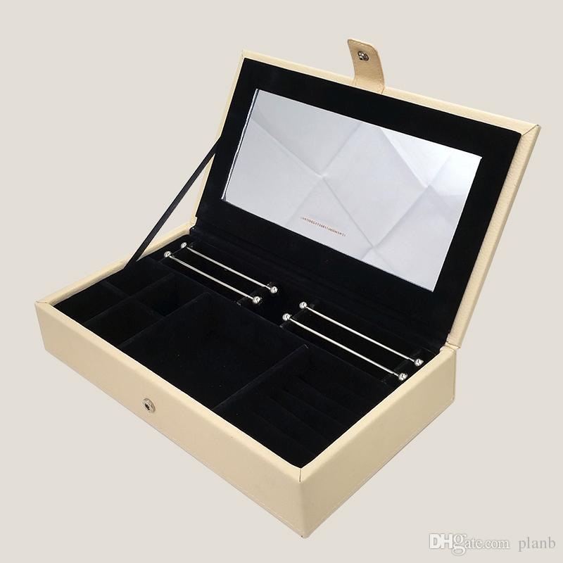 أعلى جودة بو الجلود عرض صناديق المجوهرات ل باندورا سحر الخرز المعلقات فضة سوار قلادة التغليف مربع هدية