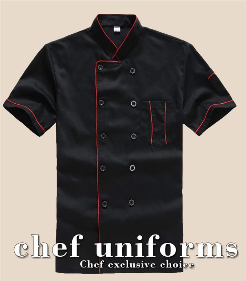Tenue à manches courtes respirant tenue d'été de nouveau Chef vêtements de travail hommes et femmes Salopettes Manteau Chef de l'hôtel Manteaux noir