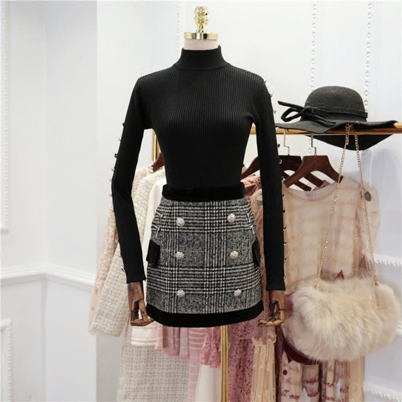 Automne Hiver Nouveau Costume Set manches longues Boutons Lion Femmes Tricot Pull à carreaux Ensemble jupe
