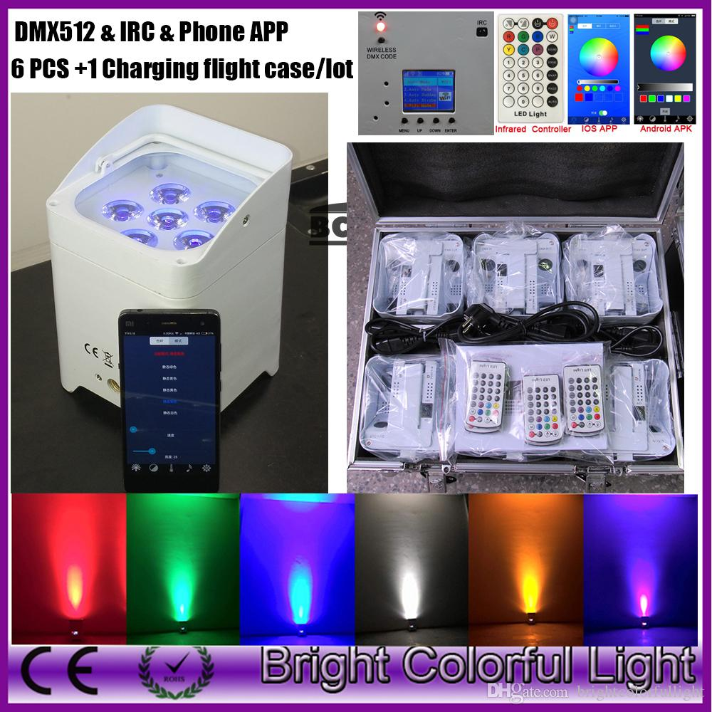 IOS/Android/ IR Remote / Wifi DMX wireless battery 6x18w rgbwa uv 6in1 led par light HEX-6 for wedding DJ event 6XLOT +road case