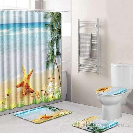 8 Tipos 4 Pcs Set Banheiro Não-Slip Pedestal Rug + Tampa Tampa Da Banheira + Tapete de Banho + cortina de Chuveiro