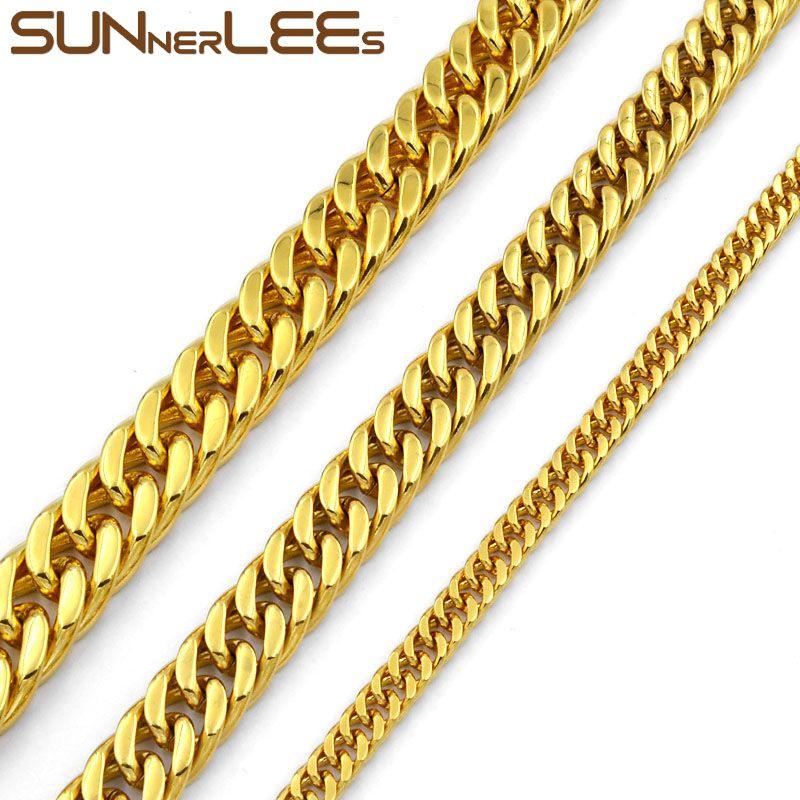 Modeschmuck 5mm 7mm 9mm 11mm Gold Farbe Edelstahl Halskette doppelt bordkubanische Link Kette für Mens Womens SC19 N