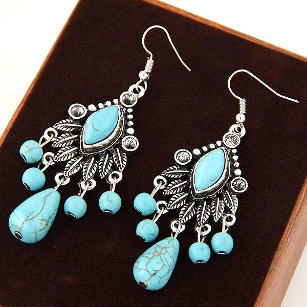 Bohemia Beach Vintage Retro Carved Tree Leaf Turquoise Geometric Water Drop Charm Tassel Dangle Earrings Fashion Accessories Jewelry Women