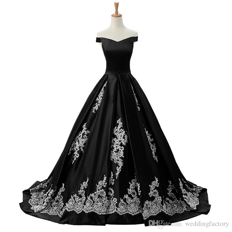 2019 Nouvelle arrivée Robes de mariée gothique à l'arrivée Appliques de dentelle noir et blanc de l'épaule sans manches A-Line Robes de mariée Satin longueur de plancher