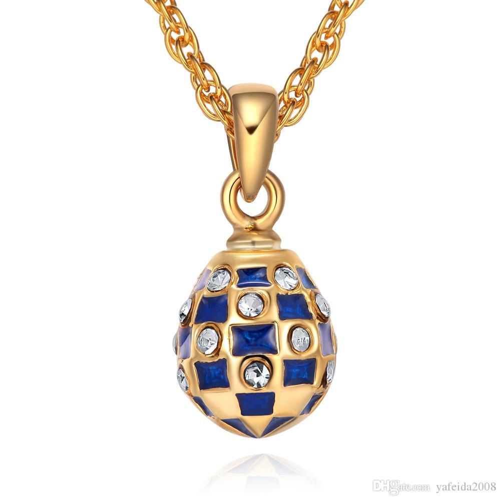 작은 크기 여성의 에나멜 수제 보석 브래스 Faberge 에그 펜던트 TF의 매력 크리스털 라인 석 목걸이 선물 여자