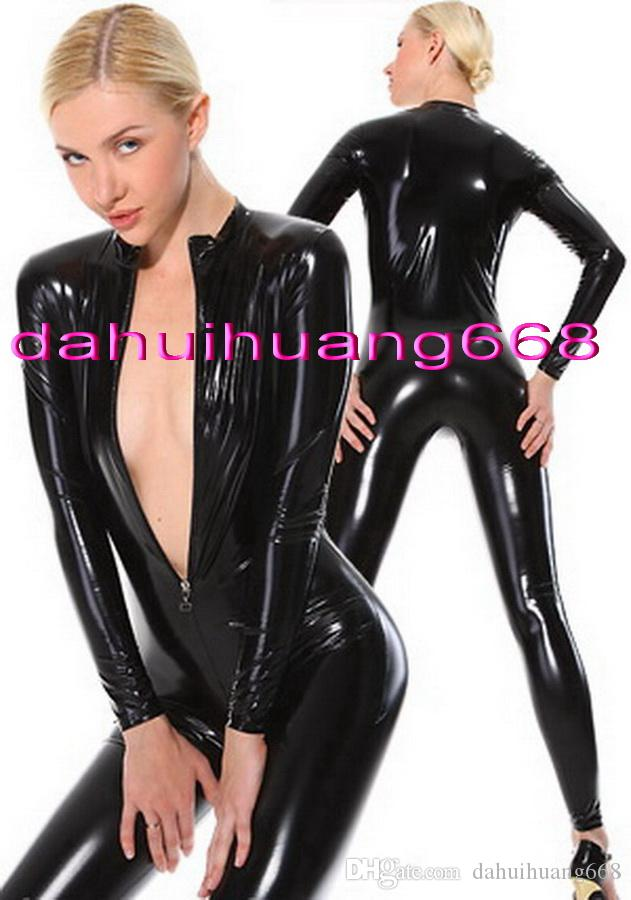 Black Shiny PVC Body Suit Cosplay Costumes Sexy Front Zipper PVC Suit Catsuit Costumes Unisex Bodysuit More 9 Color Are Available DH213