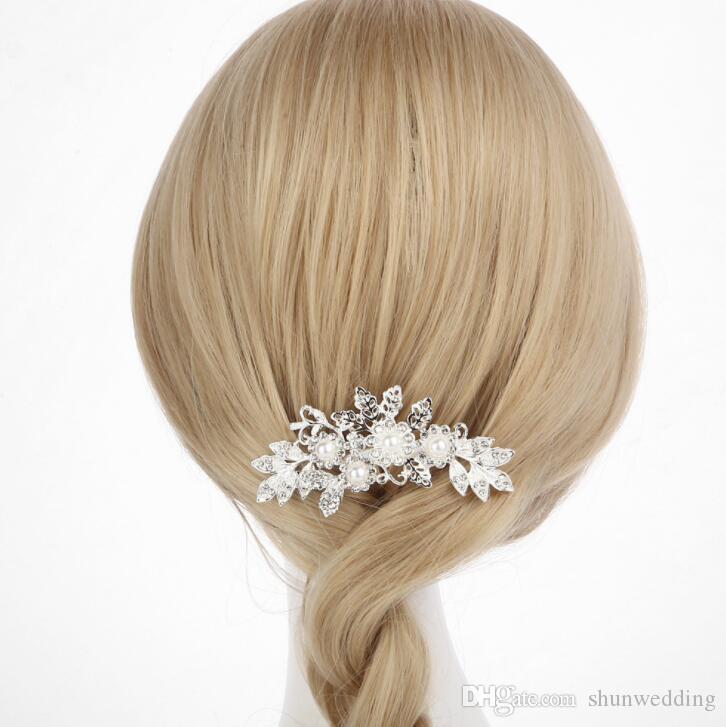 New Elegant Wedding Hair Combs for Bride Crystal Rhinestones Pearls Women Hairpins Bridal Headpiece Hair Jewelry Accessories