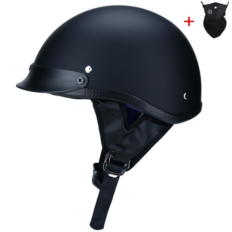 Yüksek kaliteli ABS Retro kasklar unisex motosiklet DOT Onaylı Yarım Kask Rider Kasko Mat siyah S-XXL kask
