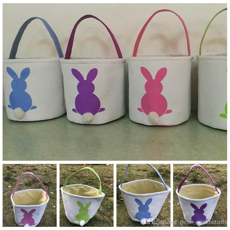 Easter Bunny Ear carrello per Borse Easter Egg Hunt Eco Canvas Candy bagagli per il giorno di Pasqua Borse portano per Candy Ostern Gifts