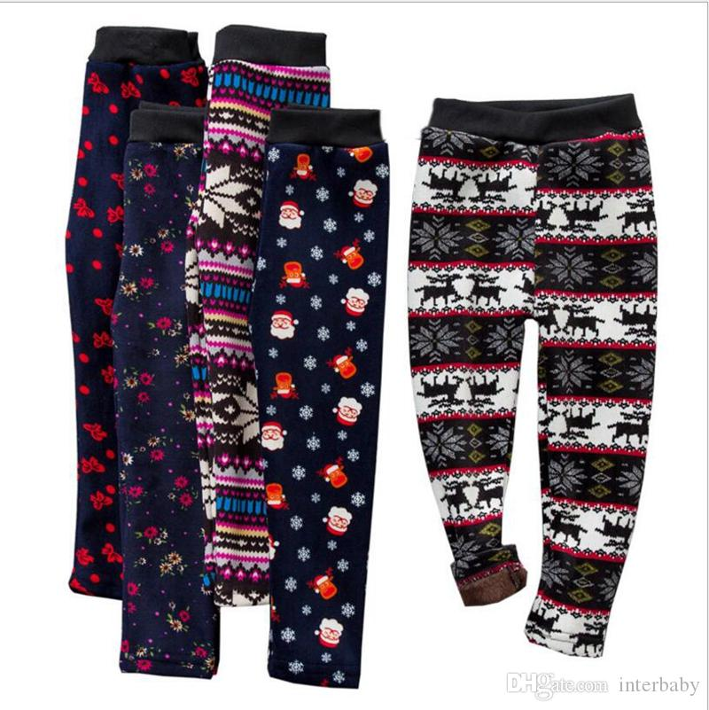 Girls Leggings Christmas Slim Plus Velvet Warm Pants Baby Snowflake Knitted Tights Toddler Winter Designer Warm Stockings Trousers YL478-7