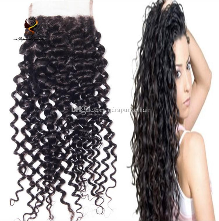 QDRapunzel hair free part deep curly brazilian hair cheap human hair lace closure piece