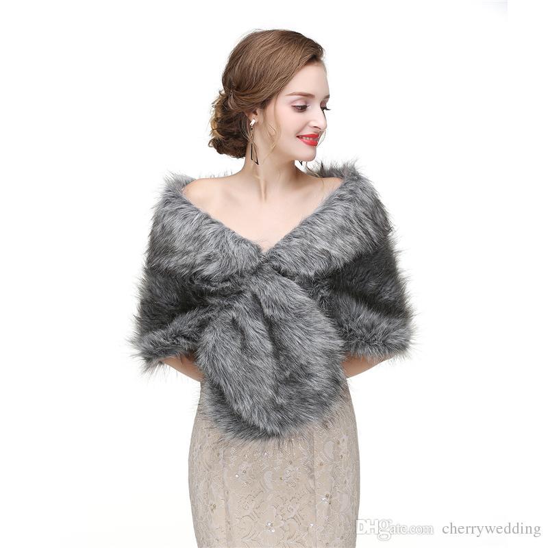 CMS20 Bridal fur stole, Vintage stole faux fur, fur shrug, bridal shawl wrap fur, gray bridal stole, wedding stole cape