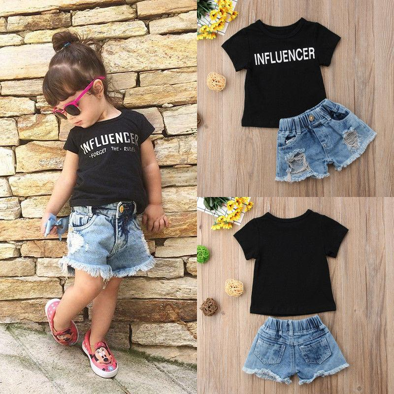 Fashion Kids Baby Girls Clothes Outfits T-shirt Tops+Short Pants Cotton Outfits