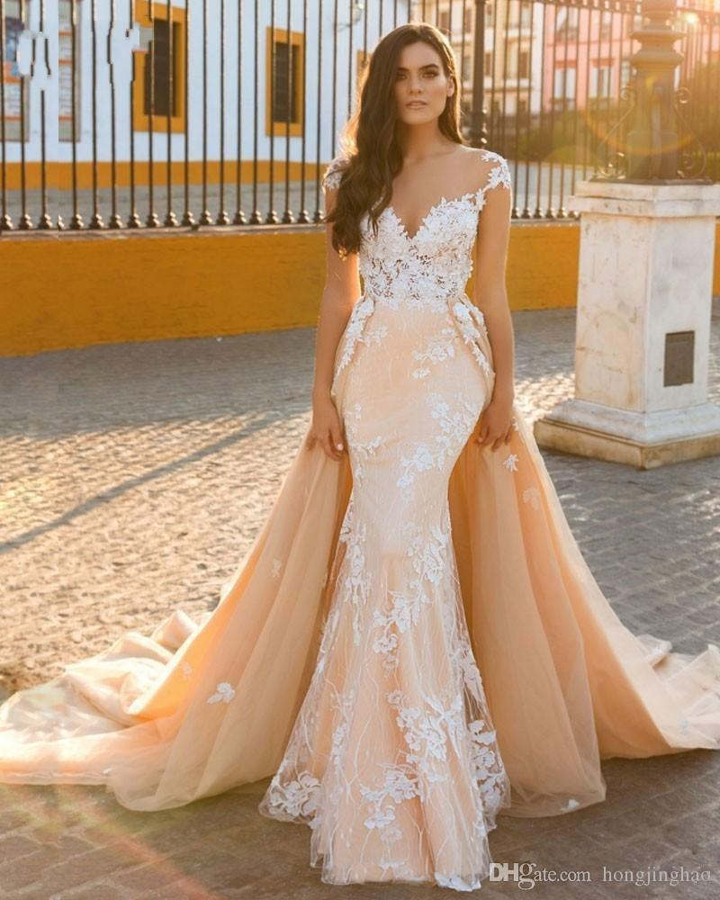 Abnehmbare Zug Mantel Brautkleid Exquisite Applique 2018 Scoop Stickerei Hochzeit Dresse Hochzeitskleid Anpassen gemacht