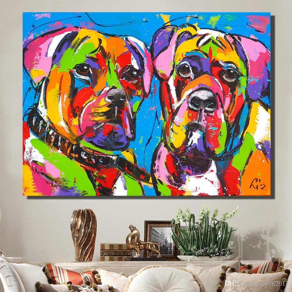 Animali Pittura a olio su tela Colorato Due cani per la decorazione della parete Art Home Decor Poster e stampe