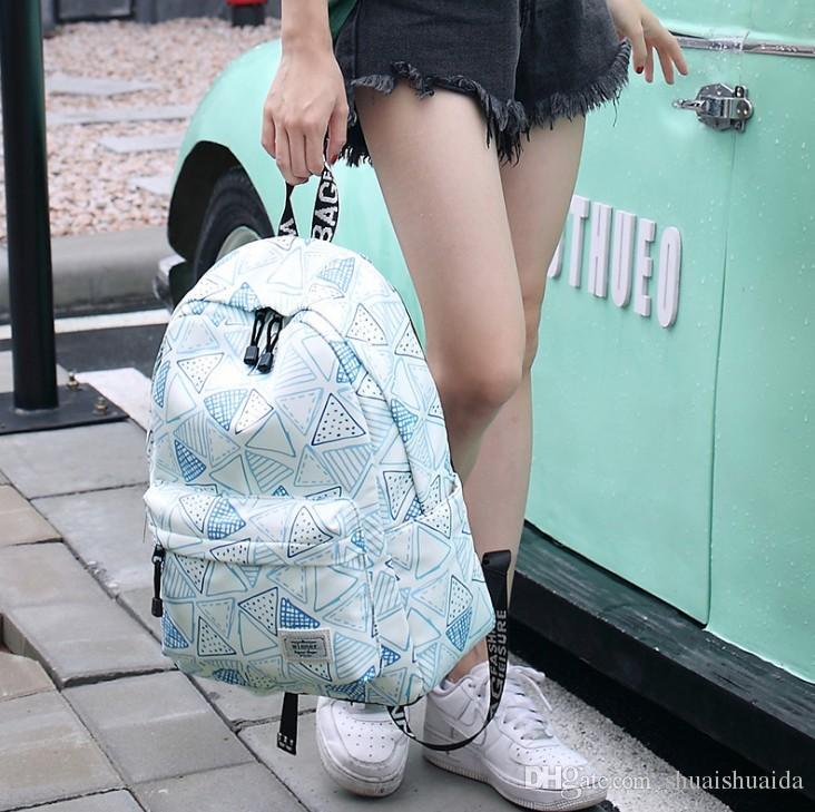 Cartable Canva + Oxford tissu sac à dos loisirs mode sac à dos rayé sacs de voyage en plein air haute capacité sac à dos ordinateur portable sacs à dos A37