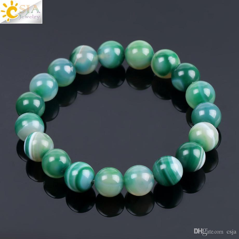 CSJA Natural Gem Stone Onyx Agates Bracelets & Bangles Green Vein Mala Yoga Beads Meditation Healing Energy Fashion Jewelry Adjustable F114