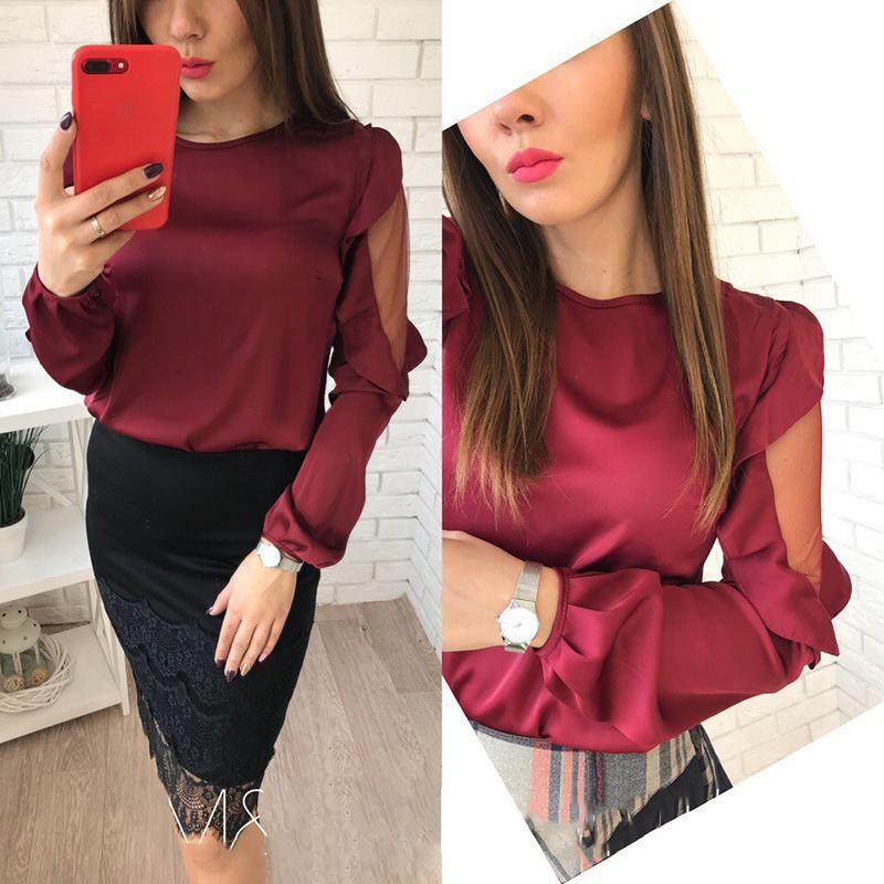 2018 nuove donne di arrivo chiffon magliette casual o-collo maniche lunghe maglia camicette patchwork moda autunno lanterne manica camicie