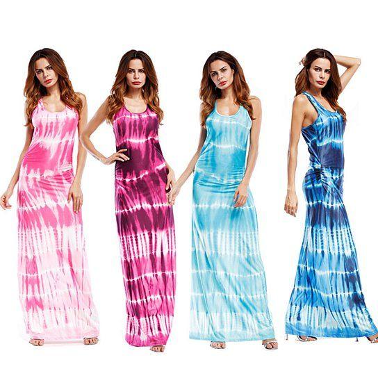 Las mujeres del verano de Boho los vestidos sin mangas Tie-dye Vestido maxi Vestido de tirantes