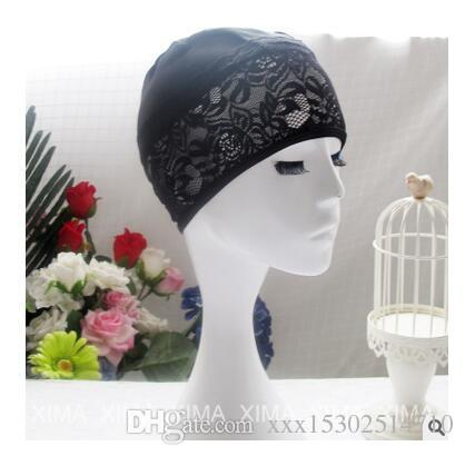 2018 New Arrival Women Swimming Cap Lace Nylon & Spandex Solid Hat Free Size For Ladies Female Brand Bathing Cap Swimming Accessories