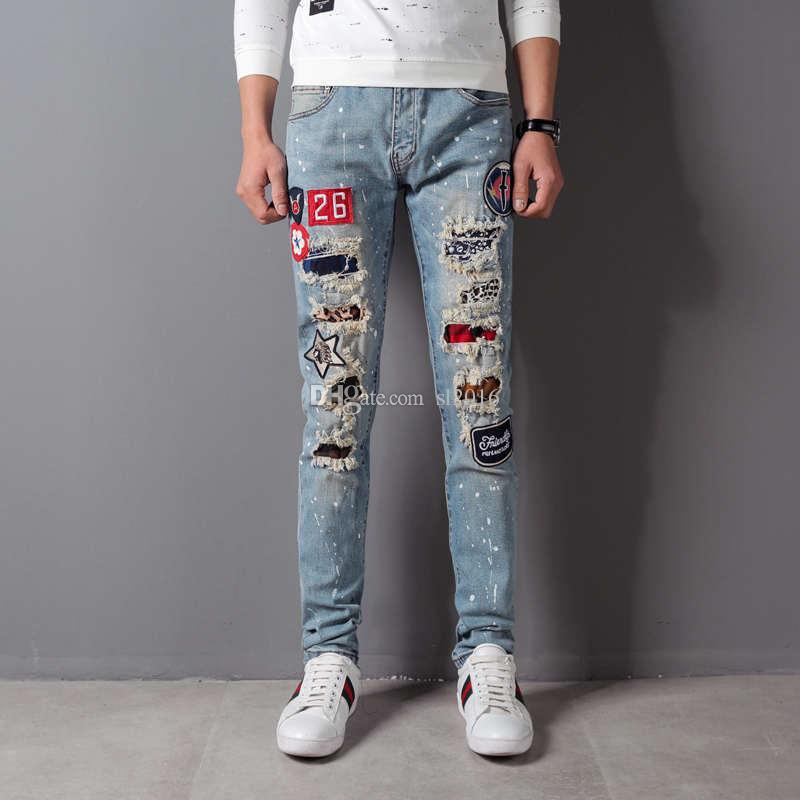 Jeans de luxe broderie robin pour hommes déchiré Jeans Homme Slim Fit Droite Denim Hommes Designer Patchwork Jeans Homme Vaqueros Hombre