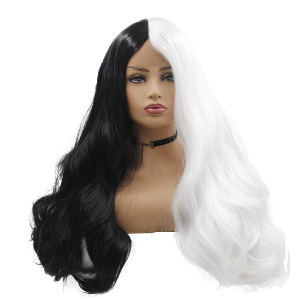 긴 물결 모양의 합성 레이스 앞 가발 흑백 가발 하라주쿠 레이스 앞 머리 코스프레 가발