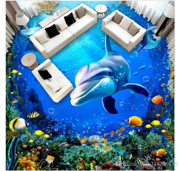 Carta da parati impermeabile autoadesiva per pavimenti in PVC 3D Carta da parati 3D per pavimenti personalizzati Carta da parati per pareti Pittura per pavimenti Dolphin Ocean 3D