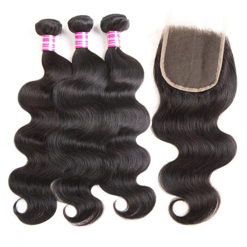 2018 оптовые бразильские девственные волосы 4x4 кружева закрытия прямой волны тела переплетения 3bundles с 4x4 кружева закрытия человеческих волос расширение
