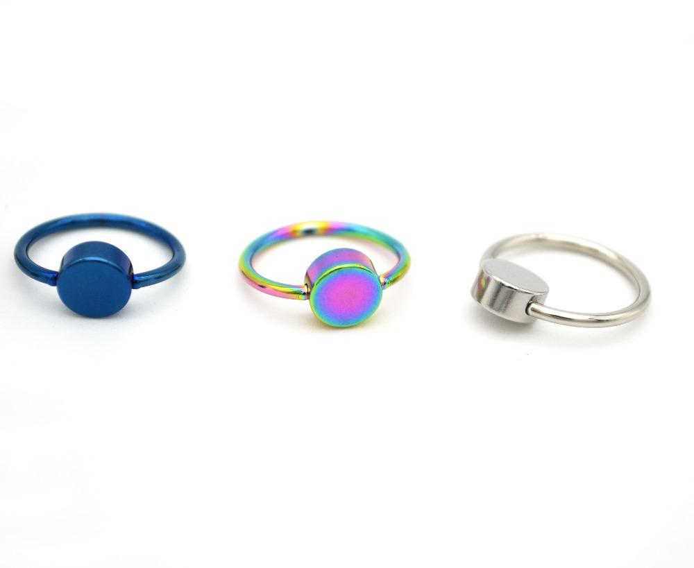Newest BCR Smiley Ring Frenulum Titanium Flat Back Disc Hoop Nose CBR 316l Surgical Steel 16G Disk Body Piercing Jewelry Earring
