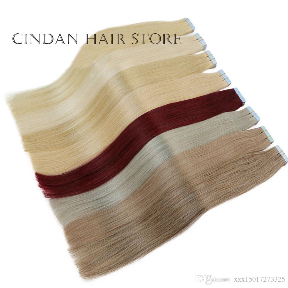 "MRCindan Tape In Human Hair Extensions 16, 18, 20, 22"",24"",Machine Made Remy Hair On Adhesives Tape PU Skin Weft Invisible 20pcs"