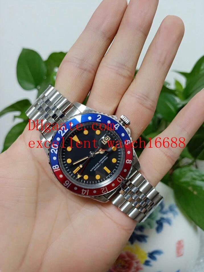 Hot vender relógios Assista Fábrica BP 40 milímetros GMT Vintage 1675 Aço inoxidável azul Red Bezel Sapphire Black Dial Asia 2813 Movimento mecânico A