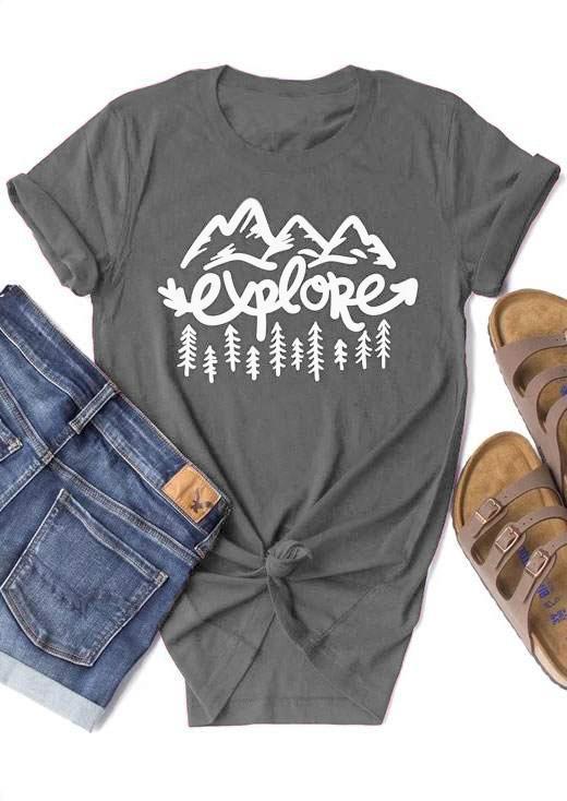 Исследуйте Mountain Tree Футболка с коротким рукавом Модная одежда Повседневная Серые хлопковые топы Женские кофты Популярные эстетические футболки