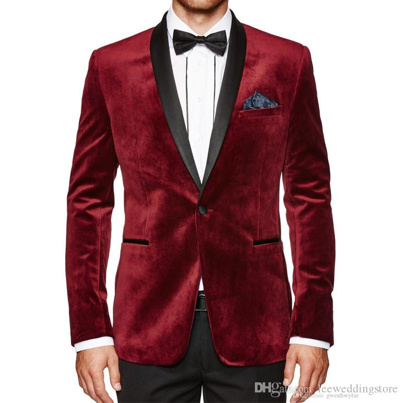 New Burgundy Velvet Evening Party Men Suits Blazer Coat Black Shawl Lapel Two Piece Wedding Suits Tuxedos Terno Masculino (Jacket + Pants)