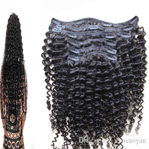 Kinky Curly 8 Peças / Set Clipe Em Extensões Do Cabelo Humano Brasileiro Remy cabelo 100 Gram grampo em extensões de cabelo brasileiro encaracolado natural