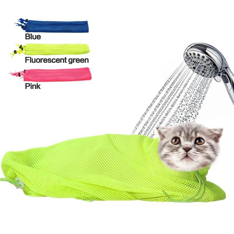 Nueva bolsa de baño de malla para el aseo del gato Sin rasguños, morder la restricción para bañarse Recorte de uñas, inyección, examen