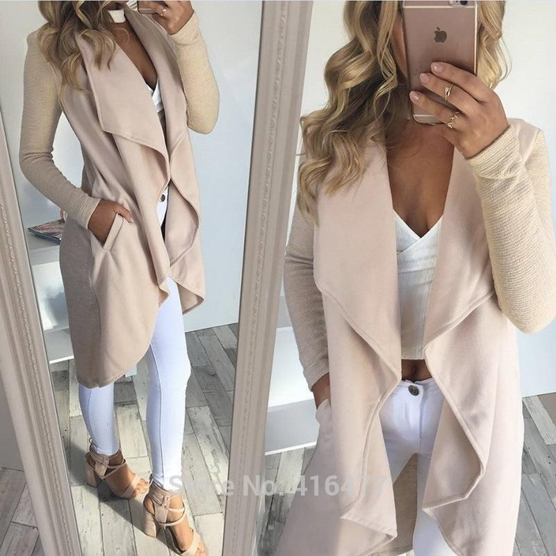 Новые Женщины Моды Случайные Карман Нерегулярные Кардиган Пальто Покроя Куртка Элегантный Длинные Пиджаки L18101001