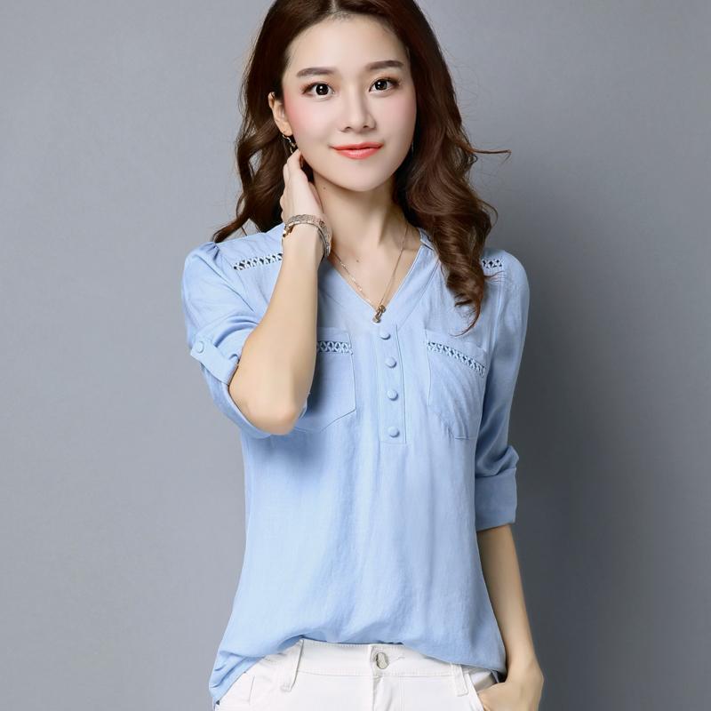 Camicette da donna alla moda Camicie Camicie con scollo a V Maniche lunghe Camicie casual Camicetta bianca Camicetta Abbigliamento donna taglie forti