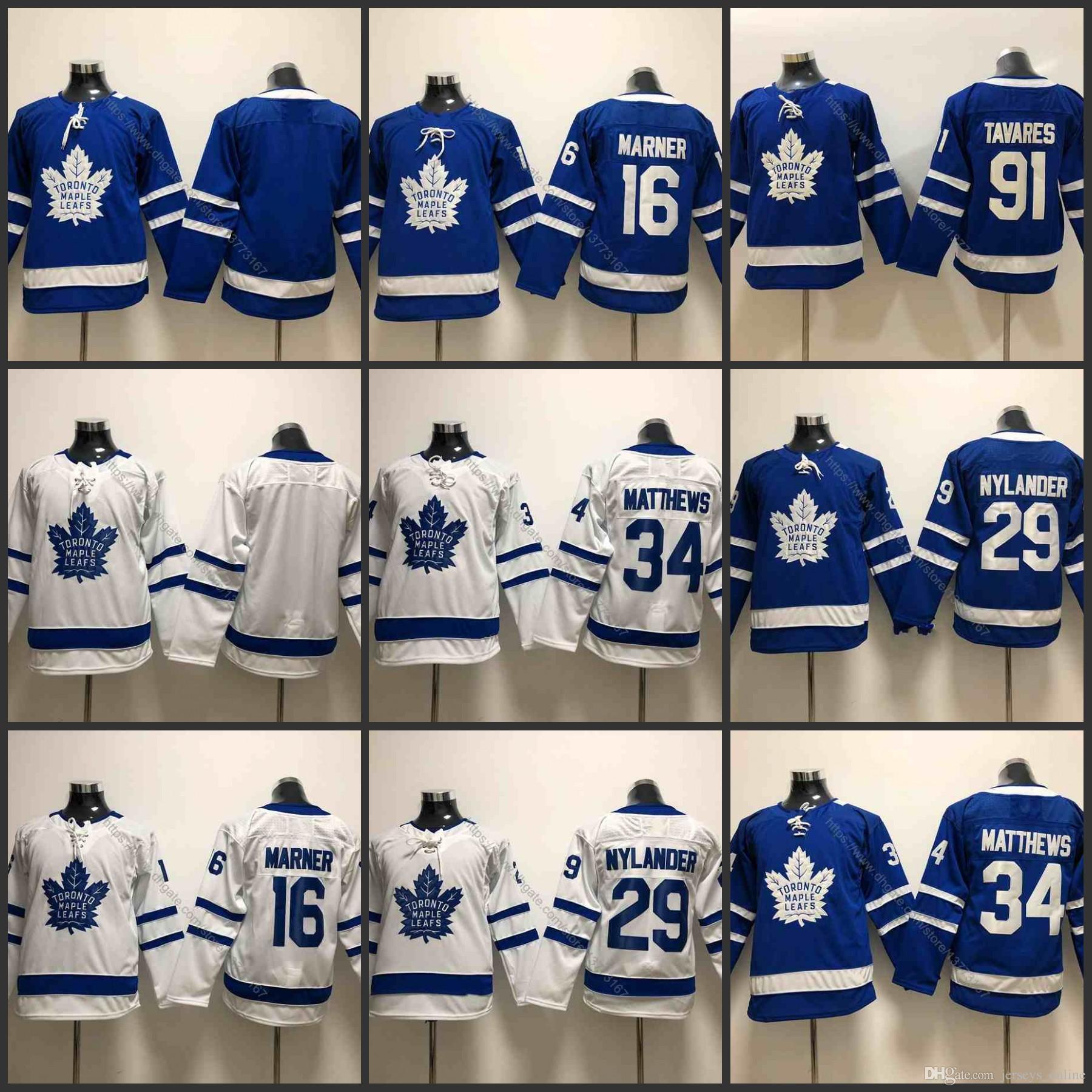 Jugendliche Toronto Maple Leafs 16 Mitch Marner 29 William Nylander 34 Auston Matthews 91 John Tavares Trikots vernäht
