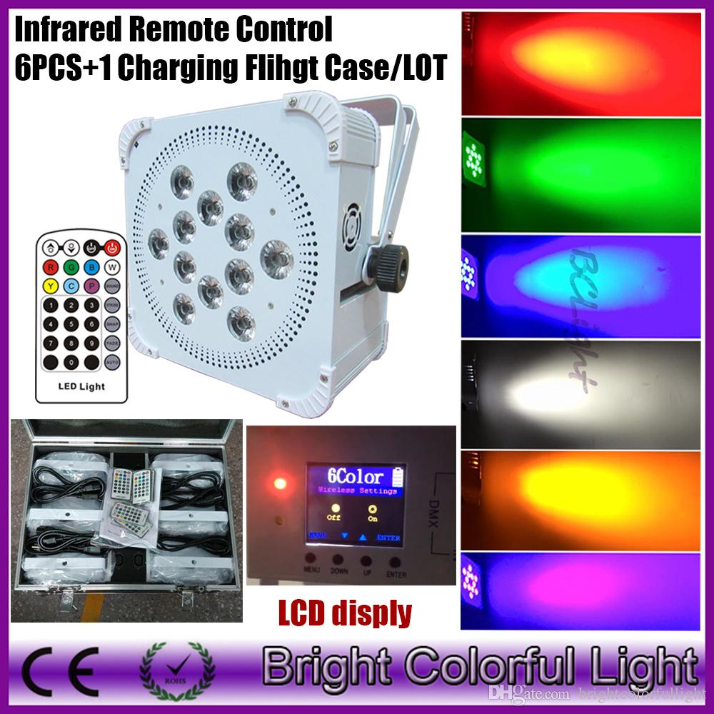 High power Wireless Led Uplight Battery Power Wireless Dmx Flat Led Par Can with Infrared remote controller 6pcs+1 fly case