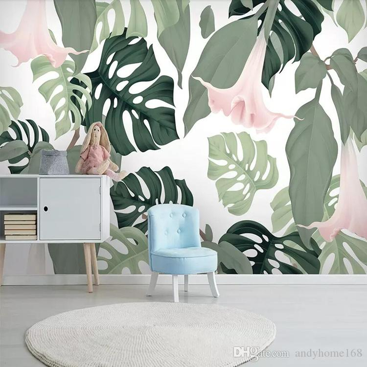 3d beautiful creative photo mural paper Nordic hand-painted fresh palm banana leaves living room TV background wall