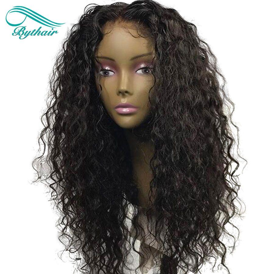 Bythairshop Naturel Ondulé Profonde Séparation 13x6 Avant de Lacet Perruques De Cheveux Humains Vague Profonde Vierge Brésilienne Perruque de Cheveux Humains Avec Des Cheveux De Bébé