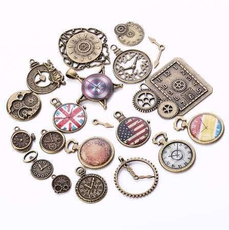 Charms in metallo vintage misto orologio moda fai da te fatti a mano gioielli steampunk pendenti monili che fanno 20 pezzi / lotto