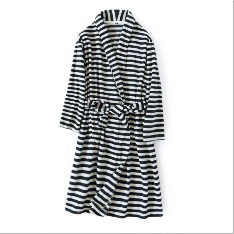 2018 Autumn Winter Brand Pajamas lovers Casual Striped Robe Men Fleece Robe Couples Long Sleeve Robe Male Bathrobe with Belt