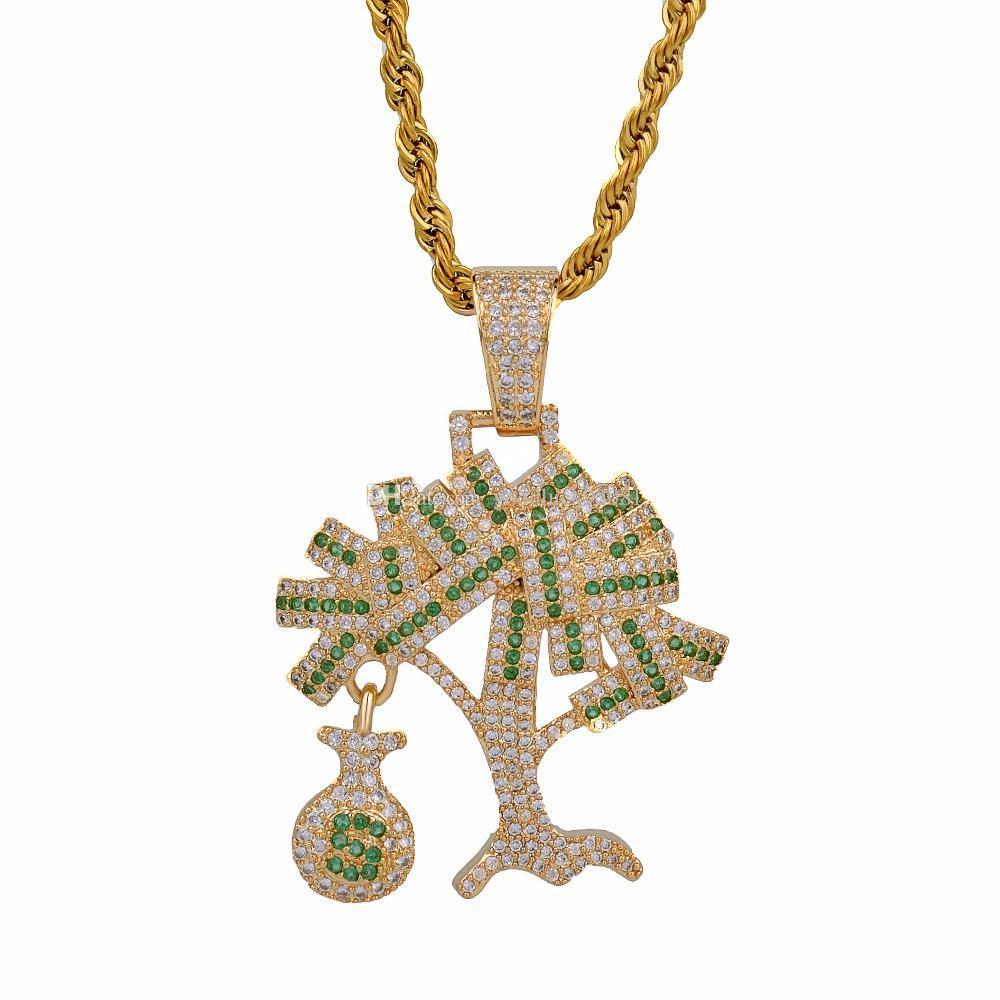 Hip Hop Or Argent Couleur Cubique Zircon US Dollar Argent Arbre Pendentif Collier Pour Hommes Iced Out Bling Bijoux Cadeaux